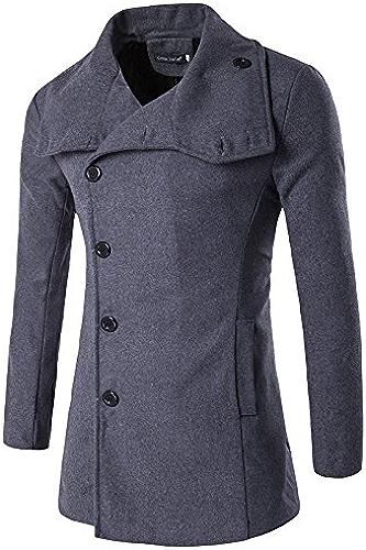 Fvbuhhi Le Manteau de Laine col à Revers Boucle Hommes Hiver Woolen Manteau,gris,XXL