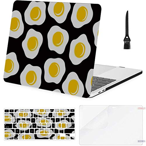 MacBook Air 13 Inch Case Morning Breakfast Seamless Pattern Fried Eggs MacBook Air11 Case MacBook Pro13 Pro15 Plastic Case Keyboard Cover,Screen Protector,Keyboard Cleaning Brush