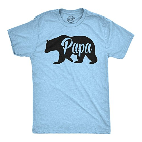 Mens Papa Bear Funny Shirts for Dads Gift Idea Humor Novelty Tees Family T Shirt (Heather Light...