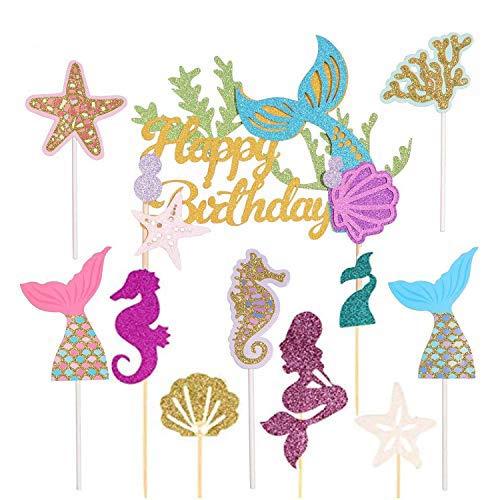 WENTS Topper für Sea Party, kuchendeko Tiere Geburtstag, Babyparty und Hochzeitsfeier Topper, Ocean Kuchendekoration, Cupcake meerjungfrau (Meerjungfrau 40 Stück)