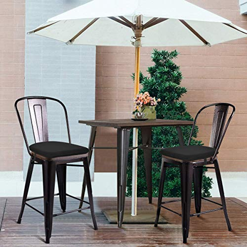 baibu Metal Dining Chair Cushion, Breathable Metal Kitchen Chair Pad with Ties Metal Stackable ChairSeat Cushions - One Pad Only (Mesh-Black, 14x14x1.5in)