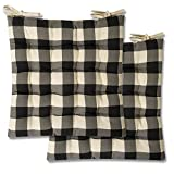 Sweet Home Collection Chair Cushion Seat Pads Indoor/Outdoor Printed Tufted Design Soft and Comfortable Covers for Dining Rooms Patio with Ties for Non Slip, 2 Pack, Buffalo Check Black 2 Pack