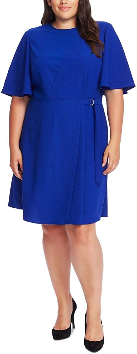 Vince Camuto Womens Plus Flutter Sleeve Office Wear to Work Dress Blue