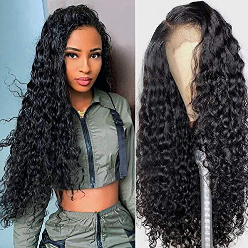 QLQUEENLIFE 4x4 Water Wave Swiss HD Lace Front Wigs Pre Plucked for Black Women 20 Inch Brazilian Virgin Human Hair 150% Density Lace Closure Wigs