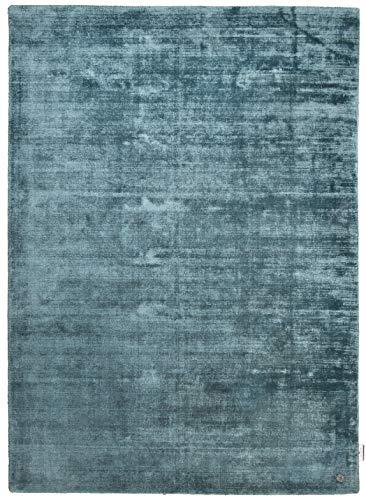TOM TAILOR Viskose-Teppich Shine, Uni, blau 65cm x 135cm blau