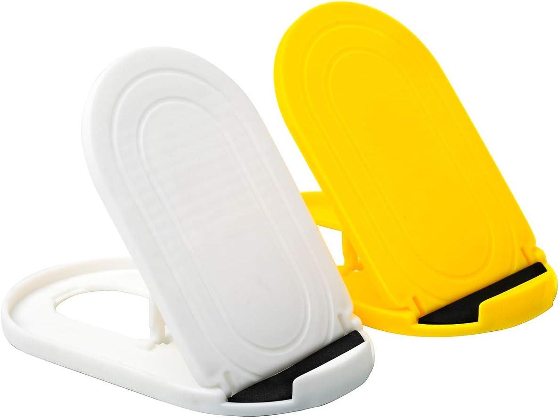 peque/ño tama/ño y f/ácil de transportar compatible con tel/éfonos de 4 a 6,5 pulgadas multi/ángulo Yiroo plegable Soporte para tel/éfono m/óvil ajustable de 2 piezas amarillo y blanco universal