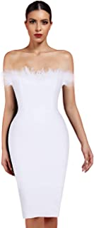 Women's Sexy Off Shoulder Feather Bandage Evening Club Party Dress