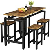 MIERES Dining Table Set for 4 - 5pcs Kitchen Counter with Bar Stools, Sturdy Metal Frame Home   Pub   Living Room   Breakfast Nook Furniture-34.7