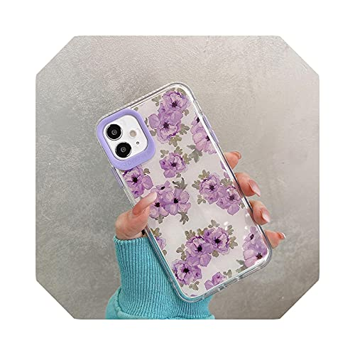 Funda para iPhone 7 8 Plus X XR XS Max 11 12 Pro Max Floral Fall-Anti Protective Cover Shell -MS-7-for iPhone X XS