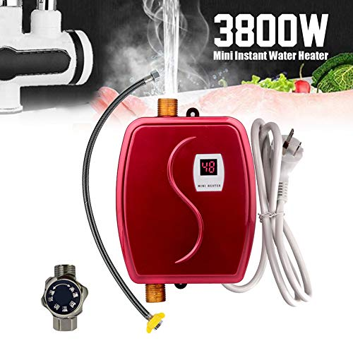 Sofortiger heißer Hahn, 3800W 220V 110V Durchlauferhitzer-Küchen-Heizungs-Thermostat-intelligenter energiesparender wasserdichter,Rot