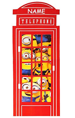 alles-meine.de GmbH XXL Fensterbild -  Minion - Ich einfach unverbesserlich / in der Telefonzelle / Telefon  - incl. Name - Sticker Fenstersticker Aufkleber - selbstklebend + w..