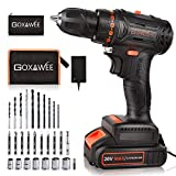 20V Brushless Cordless Drill Set, GOXAWEE Power Drill Kit with 2000 mAh Battery, 440 In-Lb Torque, 2 Speed, 23+1 Clutch, Home Tool Electric Screw Driver for Drilling and Fastening Applications
