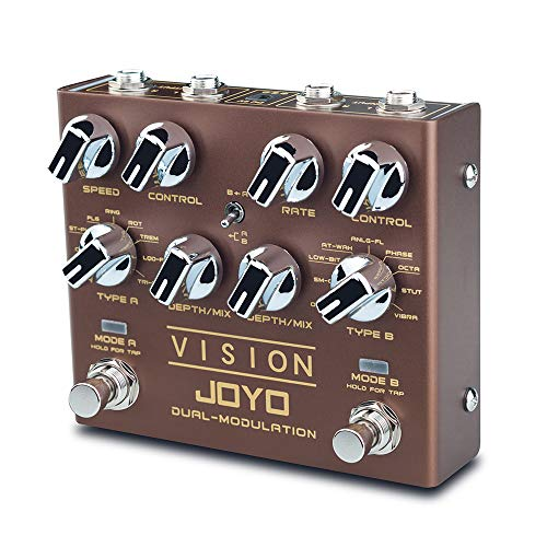 JOYO R-09 VISION Multi-Effects Pedal Dual Channel Modulation Effect Pedal for Electric Guitar Each Channel with 9 Effects Support Stereo Effects Input & Output