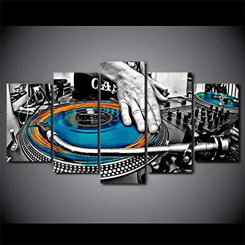 Cuadro Resumen DJ Cool Music Summe XXL Impresiones En Lienzo 5 Piezas Cuadro Moderno En Lienzo Decoración para El Arte De La Pared del Hogar 150×80 Cm HD Impreso Mural (Enmarcado)