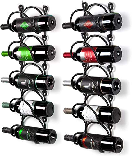 Mazu Homee Estante para colgar en la pared para vino, de metal, para colgar en la pared, curvado, puede acomodar 10 botellas de vino, color negro