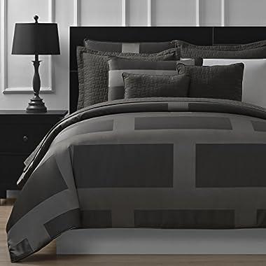 Comfy Bedding Frame Jacquard Microfiber King 5-piece Comforter Set, Gray
