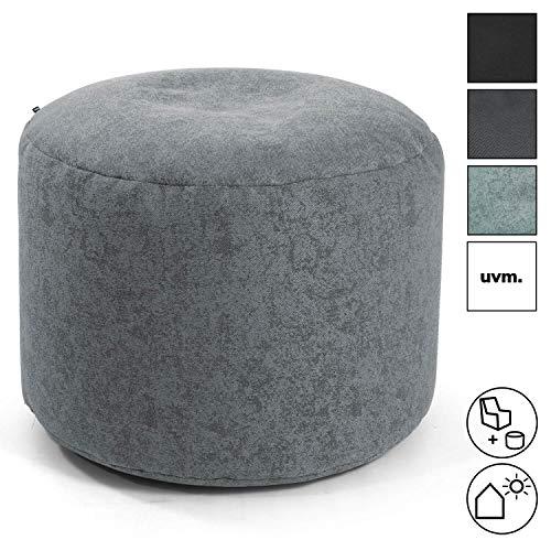 mokebo® Pouf 'Der Ruhepouf' rundes Sitzkissen Indoor & Outdoor oder Hocker, Made in Schwarzwald, Webstoff in Grau 094