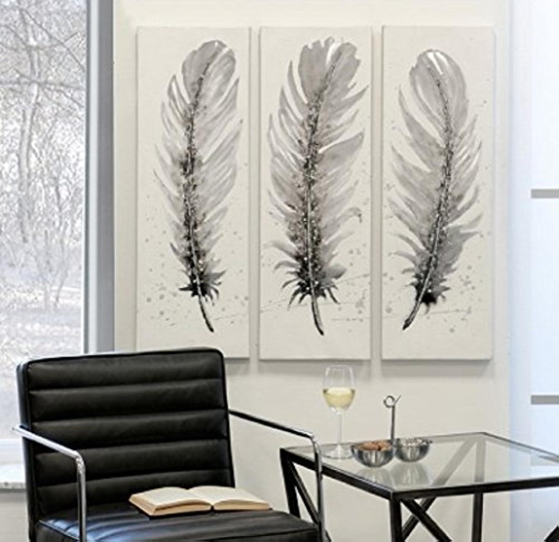 Lbild FEDERN Feder aus Leinen Holz Metall in wei grau braun silber Hhe 90 cm (mittig))
