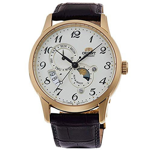 Orient Men's Classic 42.5mm Brown Leather Band Steel Case Automatic Cream Dial Analog Watch RA-AK0002S10B