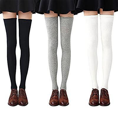 Chalier 3-4 Pairs Womens Thigh High Socks Cotton Striped Over the Knee Socks Long Knee High Socks for Women(4 pairs(04 three strips)