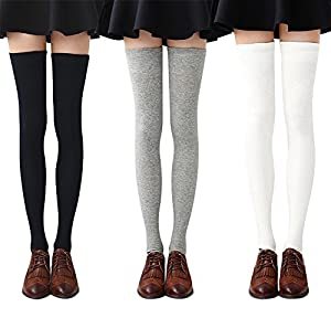 Cozy and comfortable - Our over the knee socks for women are made from soft and comfortable poly-cotton blends, which is breathable and comfortable. The long socks for women have good elasticity and will not fall down, giving you the feel of warm and...