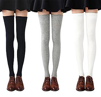 Chalier Womens Thigh High Socks Cotton Striped Over the Knee Socks Long Knee High Socks for Women