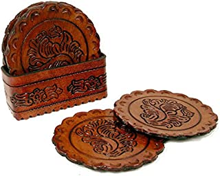 Artisan Hand Tooled Leather 8 Set Coasters & Tray Wholesale Pack Lot Peru Round