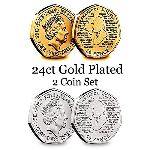 Juego de 2 monedas chapado en oro de 24 quilates 2019 160 aniversario del nacimiento de Arthur Conan Doyle autor de Sherlock Holmes 50p Cincuenta peniques