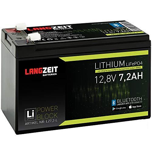 LANGZEIT Lithium Batterie 7,2Ah 12V LiFePO4 Akku Notbeleuchtung Alarmanlage USV (7,2AH)