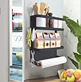 COUAH Magnetic Spice Rack , Magnetic Paper Towel Holder Kitchen Refrigerator Organizers 2-Tier Magnetic Shelf and 1 Paper Towel Roll Holders Magnetic Spice Rack for Refrigerator (Black)
