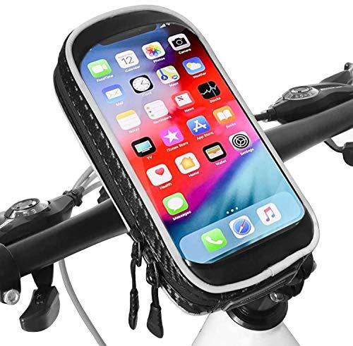 Hanchun01 Support Téléphone Velo étanche Universel Support Telephone Moto avec Toucher Sensible Support Smartphone Guidon Vélo VTT Moto pour iPhone (Noir 6.3\