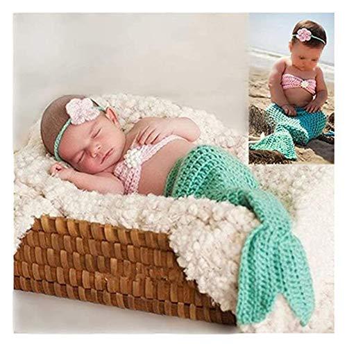 Newborn Photography Props Baby Girls Crochet Knitted Outfits Mermaid Headband Bra Tail Set