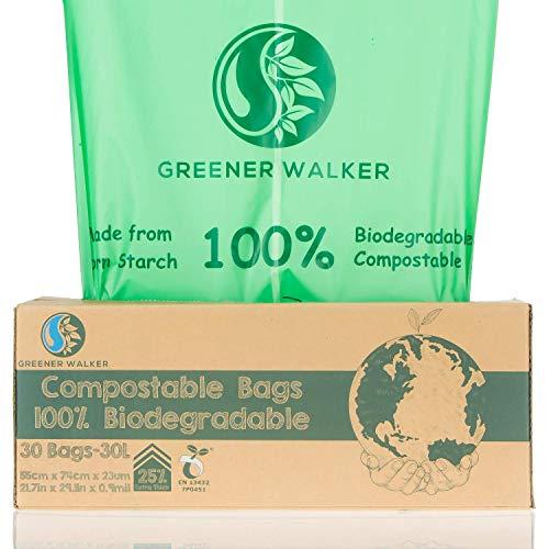 Greener Walker 25% Extra Dick Kompostierbare biologisch abbaubar Müllbeutel 6L/10L/30L Müllbeutel(30L-30 Müllsäcke)