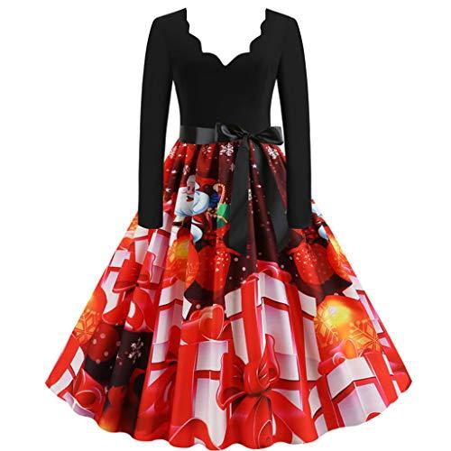KPILP Kleider Damen Weihnachtskleider Langarm V-Ausschnitt Weihnachten Karneval Kostüm Abendkleid A-Linie Swing Kleid Dress Cocktailkleid Partykleider