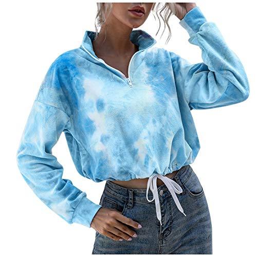 WMNU Fashion Womens Casual Short Cropped Sweatshirts Ladies Autumn Long-Sleeve Tie-dye Print Sweatshirts Plush Pullover Tops Blue