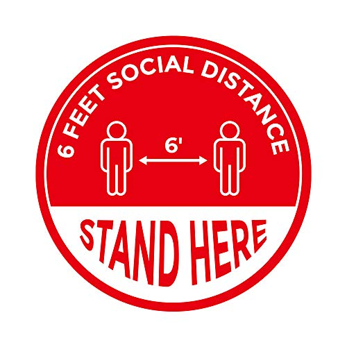 Social Distancing Floor Signs, 6ft Public Safety Decal, Keep 6 Feet Distance Label, Please Wait Here Stand Here Sticker, Waterproof Yellow Round Floor Reminder Marker (8, 15)