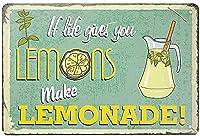 2個 人生があなたにレモンを与えるならレモネードを作るブリキの看板金属板装飾的な看板家の装飾プラーク看板地下鉄の金属板8x12インチ メタルプレート レトロ アメリカン ブリキ 看板