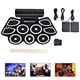 N/P Foldable Digital Electronic Drum, Roll Up Electronic Drum Built in Speaker 9 Pads with 2 Foot Pedals and Drumsticks,Suitable for Beginners