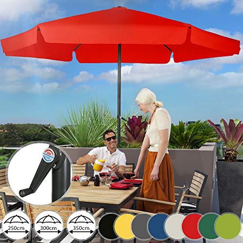 MIADOMODO Sonnenschirm in Ø 2,5m / 3m / 3,5m - in Farbwahl, Wasserabweisender Schirmbezug, mit Krempe und Kurbel, aus Stahlrohr - Marktschirm, Gartenschirm, Terrassenschirm, Ampelschirm (Ø 3 m, Rot)