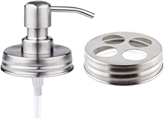 The Southern Jarring Co. Bathroom Accessories Lid Set - Jars NOT Included - Mason Jar Hand Soap Dispenser and Toothbrush Holder Lids - Modern Farmhouse Bathroom Decor (Brushed Stainless Steel)