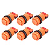 EG STARTS 6X American Style Standard Arcade Buttons Switchable Happ Type 30mm Push Button 3/16' Terminal for Jamma Mame Kit Parts (Orange)