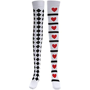 Cuigu Halloween Long Socks Knee High Poker Blanco y Negro ...