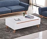 Table Basse Design scandinave AIKA chêne et Blanc 120 cm x 65 cm 4 tiroirs