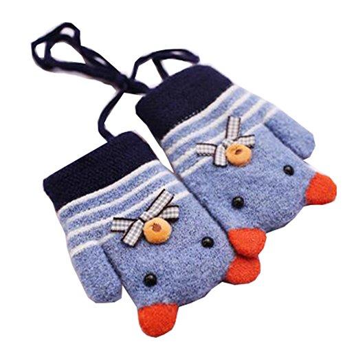 Mode Mixte Couleur Enfants d'hiver en Tricot Blue Mittens