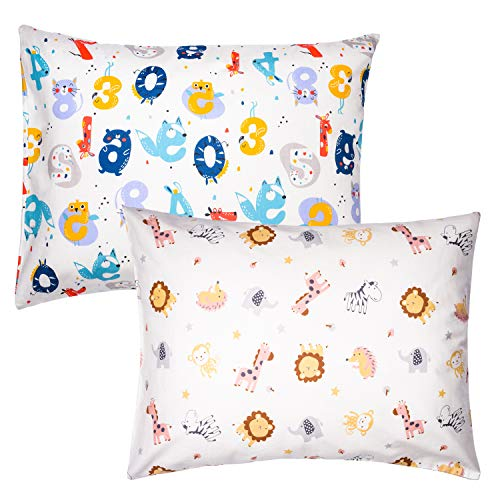 ZPECC 2Pack Toddler Pillows with Pillowcases - Hypoallergenic Baby Pillows for Sleeping 13 x 18, Machine Washable, Soft 100% Cotton Kid Pillows for Nap, Travel, Toddler Cot, Bed Set, Animal Number