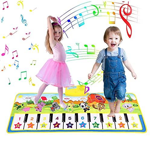 KWINY Alfombrilla para piano infantil, alfombrilla de música, alfombrilla de danza, alfombrilla para teclado de piso, alfombrilla musical para bebés y niños (100 x 36 cm)