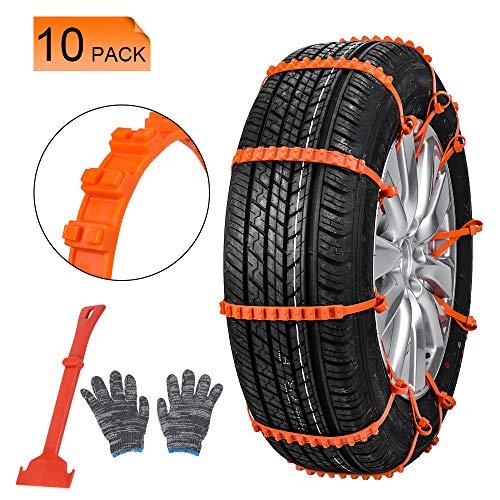 Oziral Cadenas de Nieve 10 pcs Universal Auto Emergencia Neumáticos Cadenas Antideslizante para la...