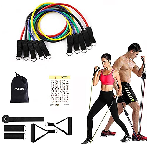 Mossto Resistance Bands Set for Exercise, Stretching, and Workout Toning Tube Kit with Foam Handles, Door Anchor, Ankle Strap, and Carrying Bag for Men, Women (11 in 1)