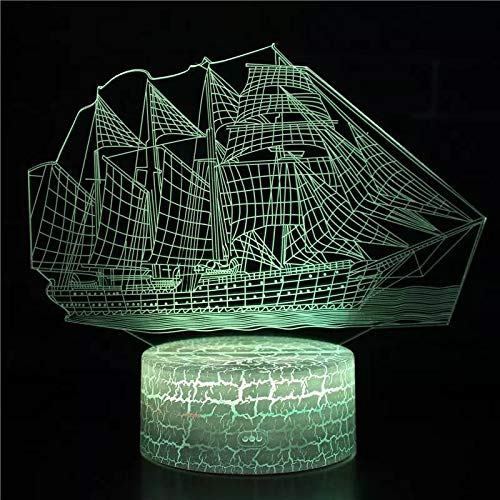 Lindo barco de vela creativo lámpara de mesa pequeña Acrílico decoración creativa lámpara de mesa pequeña luz LED multicolor luz de visión 3D luz de noche multicolor