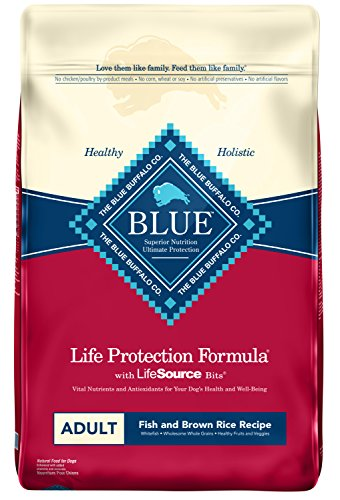 Blue Buffalo Life Protection Formula Adult Dog Food – Natural Dry Dog Food for Adult Dogs – Fish and Brown Rice – 30 lb. Bag